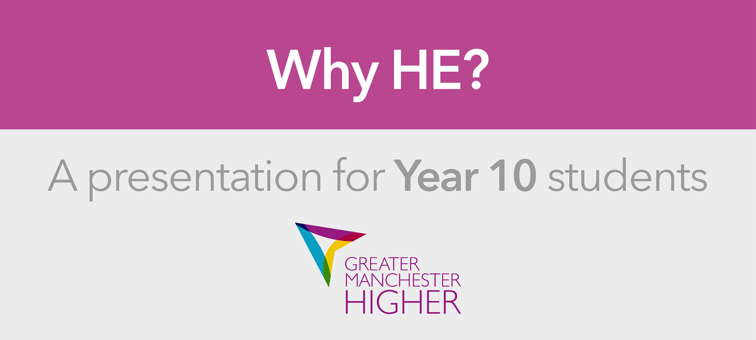 Why HE? Life After Year 11 presentation for Year 10 students